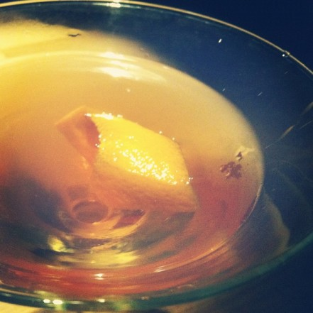 orange and cinnamon manhattan at grill on the market