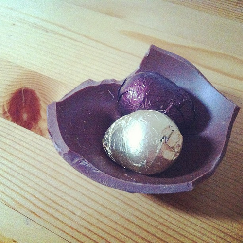 last little bit of the chocolate egg